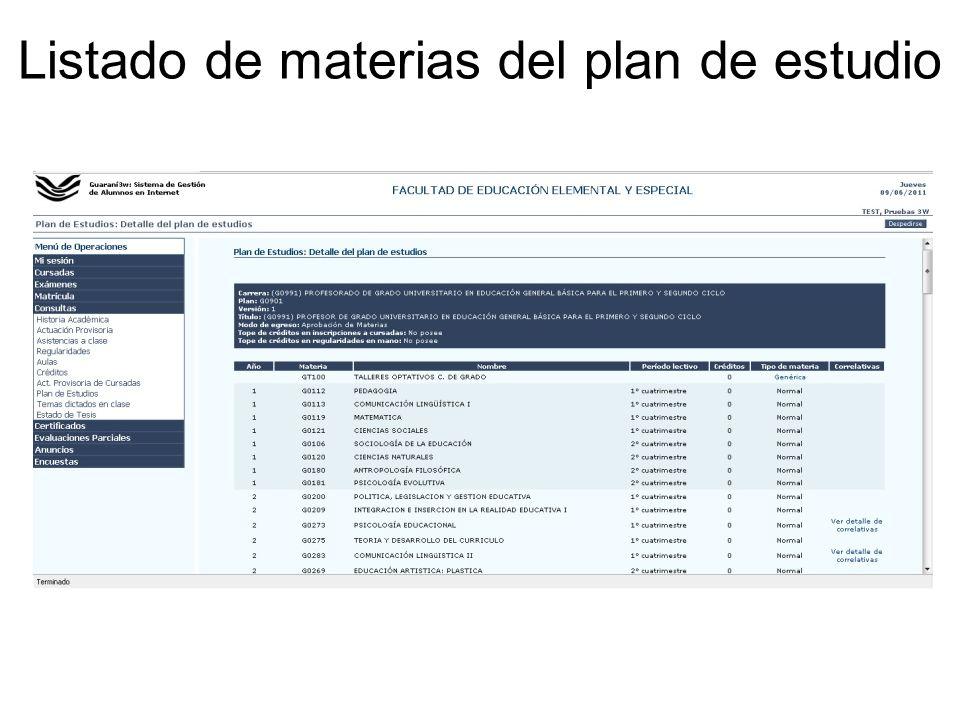 Listado de materias del plan de estudio