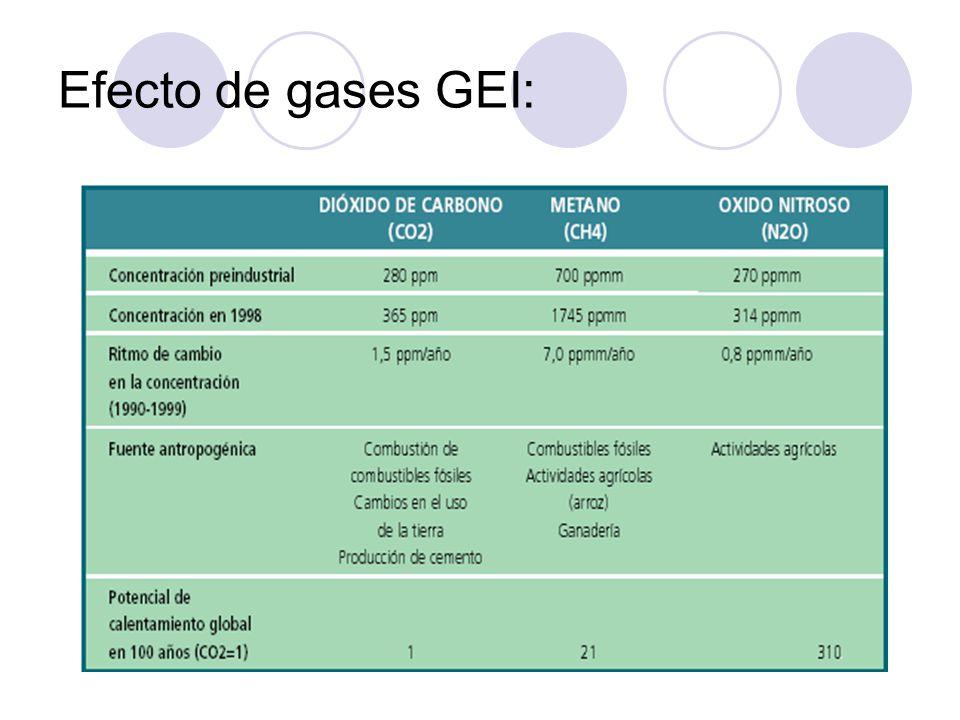 Efecto de gases GEI: