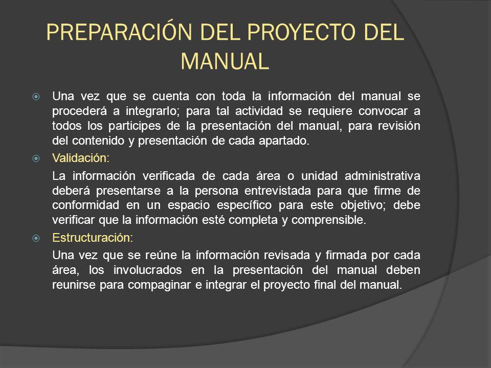 PREPARACIÓN DEL PROYECTO DEL MANUAL