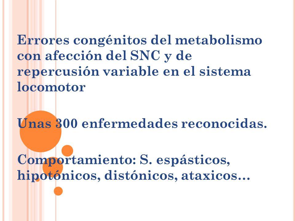 Errores congénitos del metabolismo con afección del SNC y de repercusión variable en el sistema locomotor