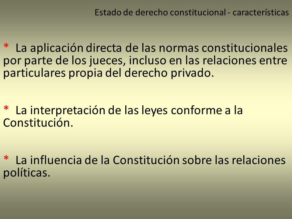 * La interpretación de las leyes conforme a la Constitución.