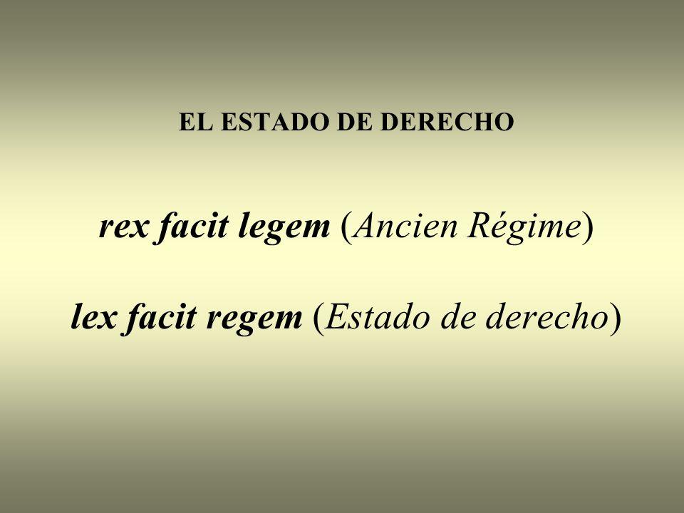 EL ESTADO DE DERECHO rex facit legem (Ancien Régime) lex facit regem (Estado de derecho)