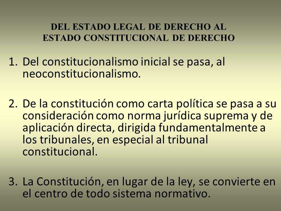 DEL ESTADO LEGAL DE DERECHO AL ESTADO CONSTITUCIONAL DE DERECHO