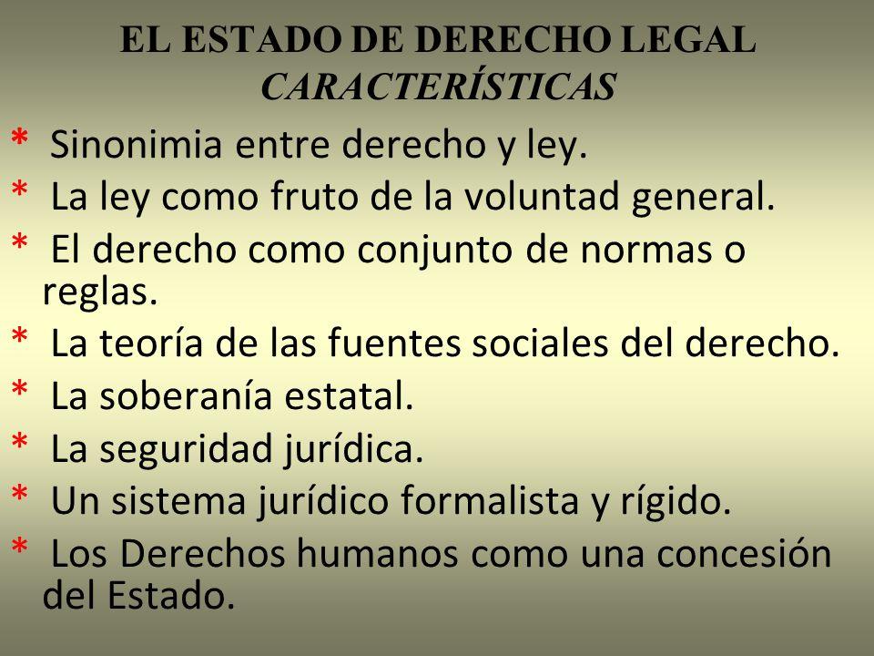 EL ESTADO DE DERECHO LEGAL CARACTERÍSTICAS