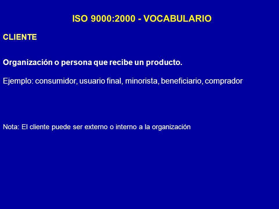 ISO 9000:2000 - VOCABULARIO CLIENTE