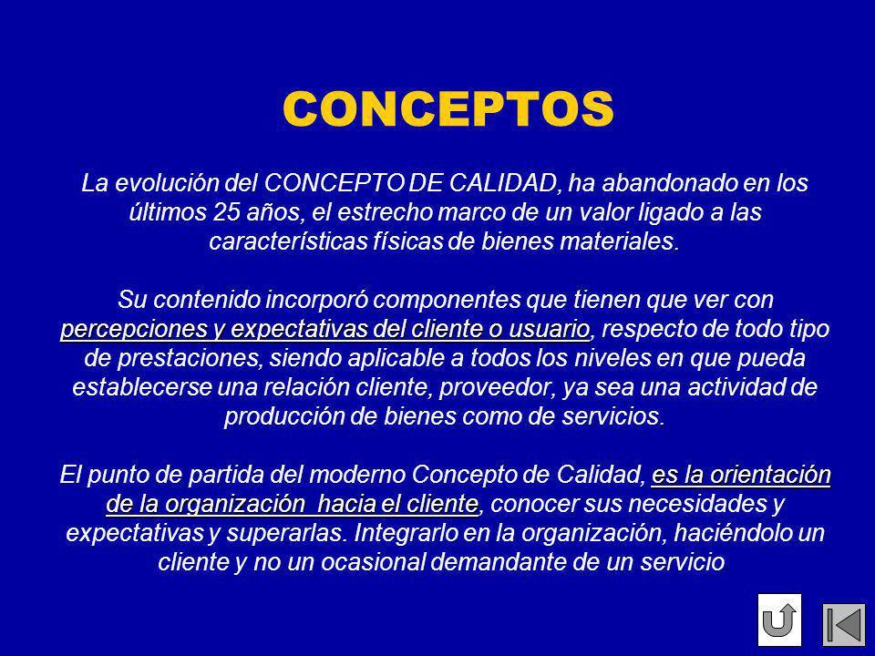 CONCEPTOS La evolución del CONCEPTO DE CALIDAD, ha abandonado en los últimos 25 años, el estrecho marco de un valor ligado a las características físicas de bienes materiales.