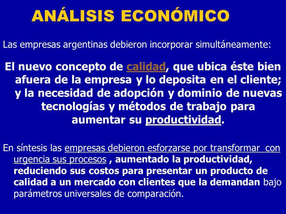 ANÁLISIS ECONÓMICO Las empresas argentinas debieron incorporar simultáneamente: