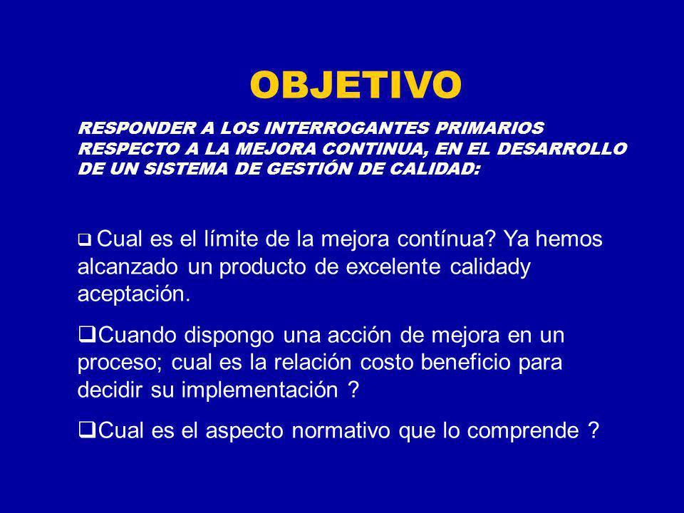 OBJETIVO RESPONDER A LOS INTERROGANTES PRIMARIOS RESPECTO A LA MEJORA CONTINUA, EN EL DESARROLLO DE UN SISTEMA DE GESTIÓN DE CALIDAD: