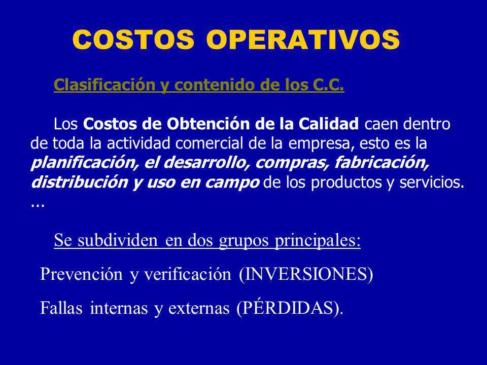 COSTOS OPERATIVOS Se subdividen en dos grupos principales: