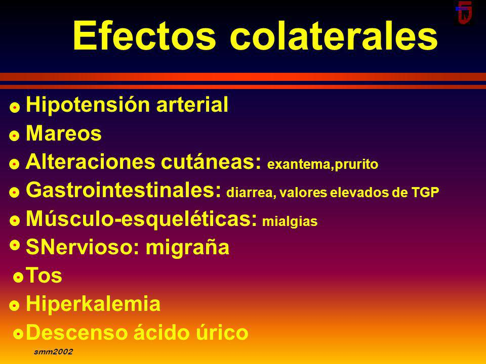 Efectos colaterales Hipotensión arterial Mareos
