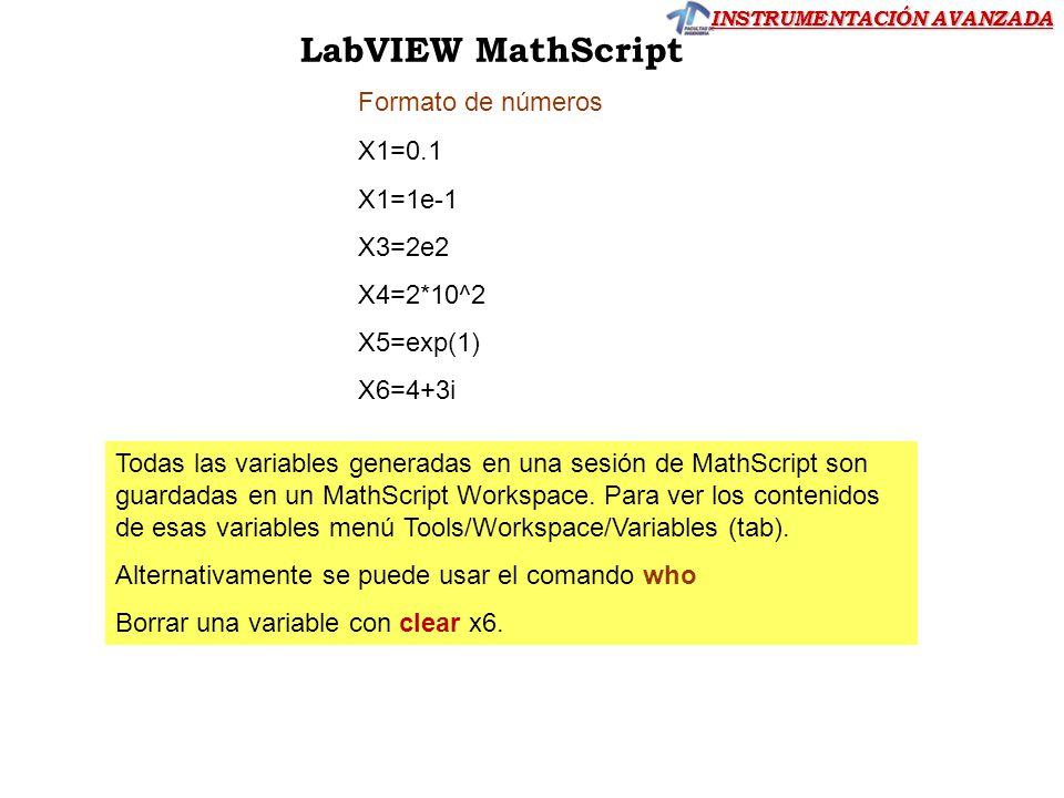 LabVIEW MathScript Formato de números X1=0.1 X1=1e-1 X3=2e2 X4=2*10^2