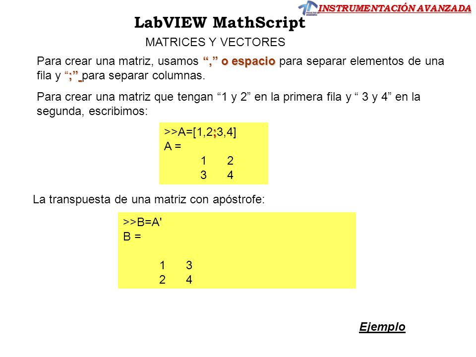 LabVIEW MathScript MATRICES Y VECTORES