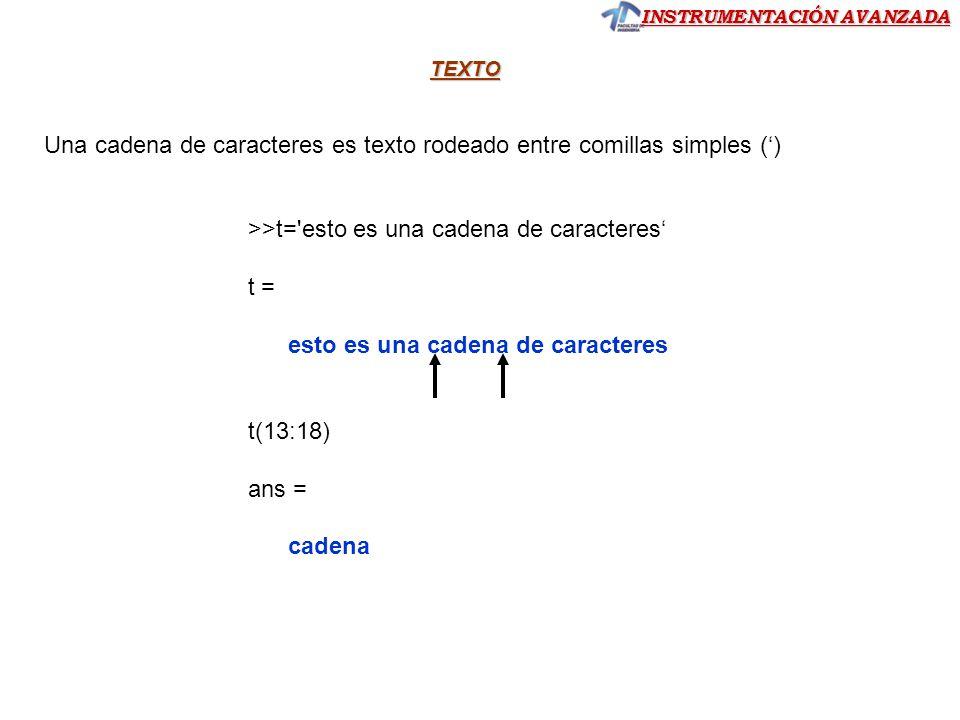 Una cadena de caracteres es texto rodeado entre comillas simples (')