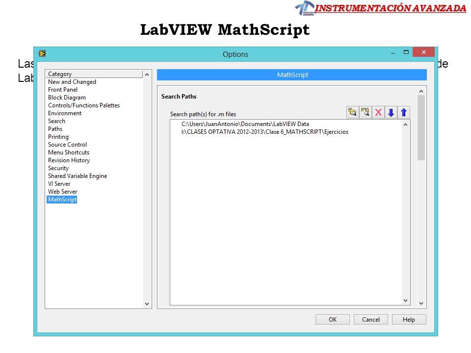 LabVIEW MathScript Las funciones tienen que estar grabadas en el directorio de trabajo -por defecto de LabVIEW Data-.