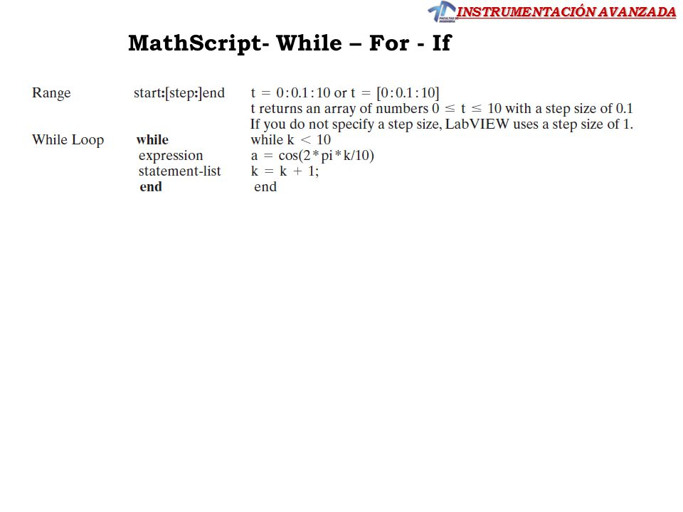 MathScript- While – For - If