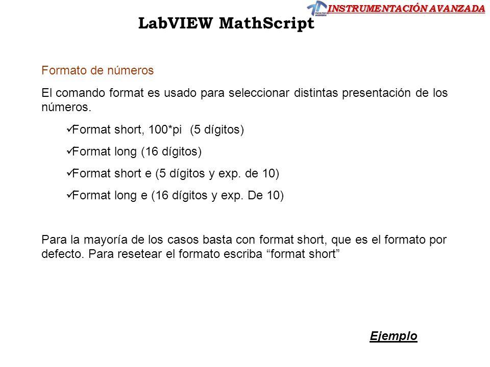 LabVIEW MathScript Formato de números