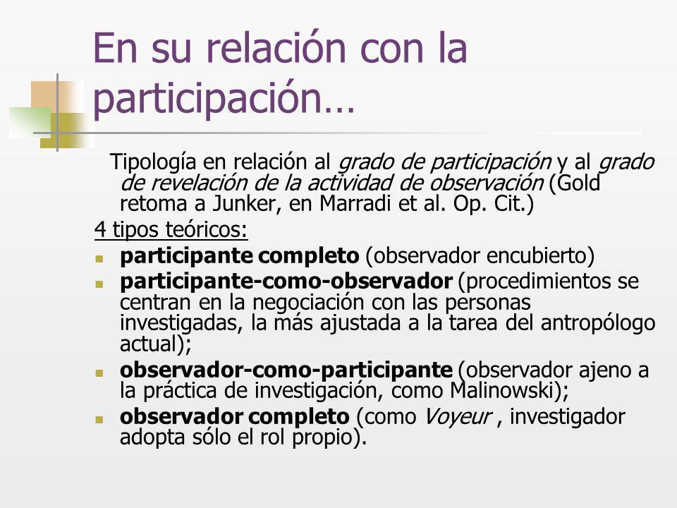 En su relación con la participación…