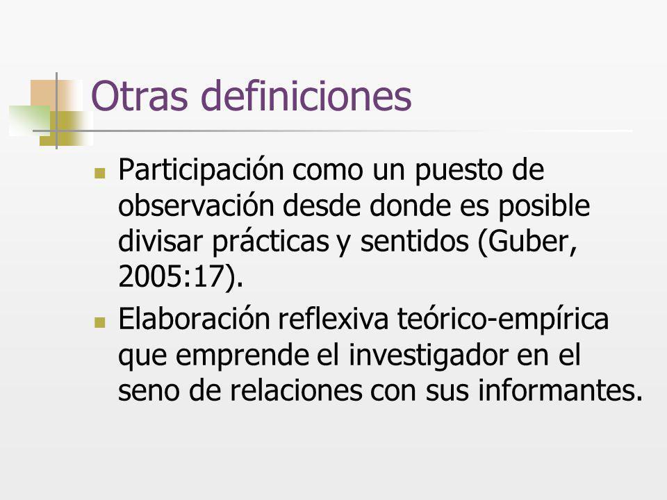 Otras definiciones Participación como un puesto de observación desde donde es posible divisar prácticas y sentidos (Guber, 2005:17).