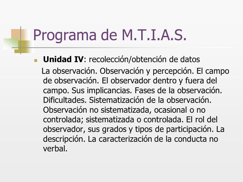 Programa de M.T.I.A.S. Unidad IV: recolección/obtención de datos