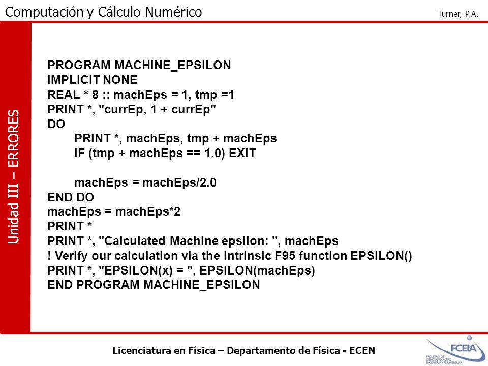 PROGRAM MACHINE_EPSILON