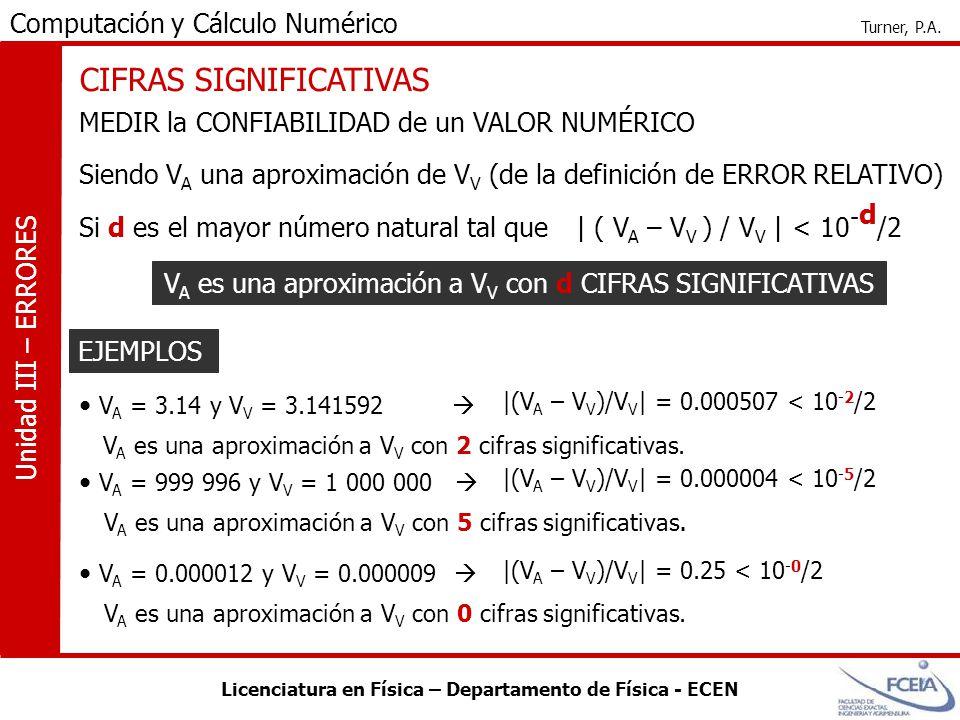 VA es una aproximación a VV con d CIFRAS SIGNIFICATIVAS