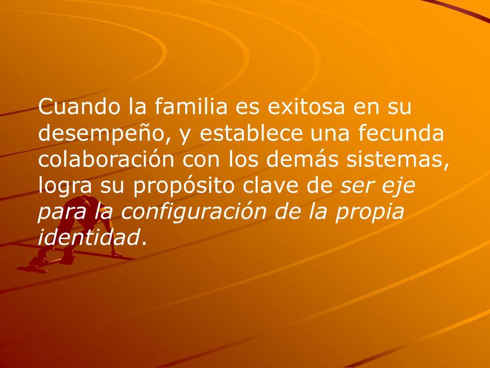 Cuando la familia es exitosa en su desempeño, y establece una fecunda colaboración con los demás sistemas, logra su propósito clave de ser eje para la configuración de la propia identidad.