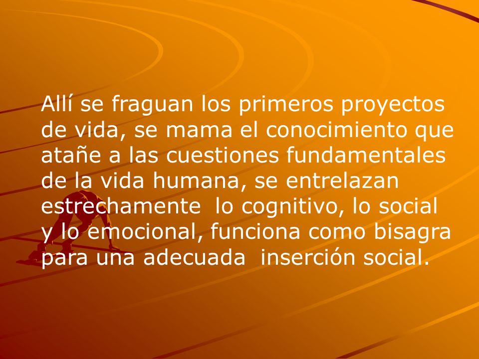 Allí se fraguan los primeros proyectos de vida, se mama el conocimiento que atañe a las cuestiones fundamentales de la vida humana, se entrelazan estrechamente lo cognitivo, lo social y lo emocional, funciona como bisagra