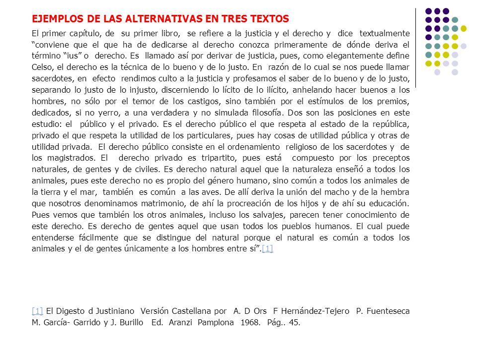 EJEMPLOS DE LAS ALTERNATIVAS EN TRES TEXTOS