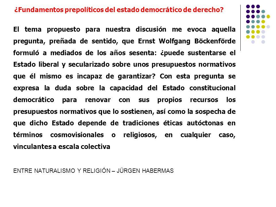 ¿Fundamentos prepolíticos del estado democrático de derecho