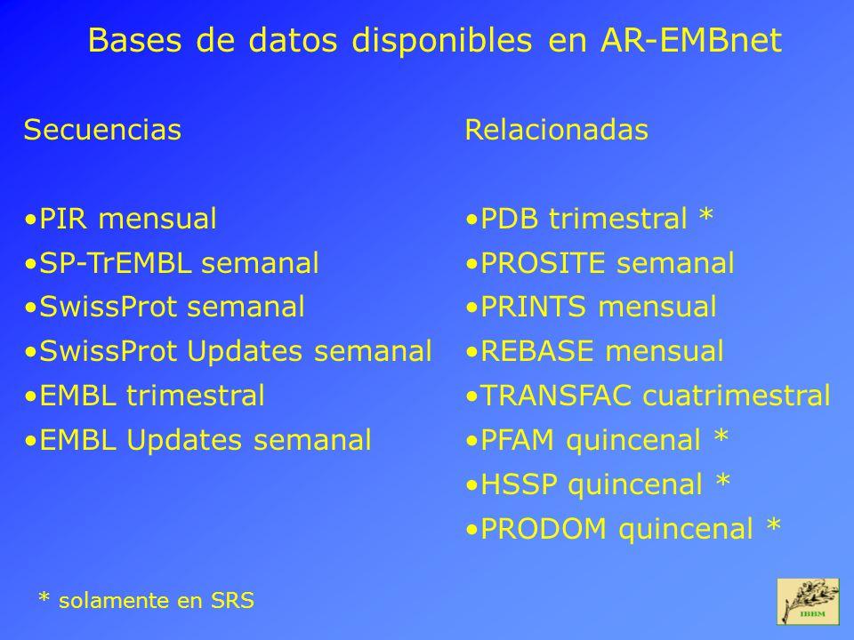 Bases de datos disponibles en AR-EMBnet