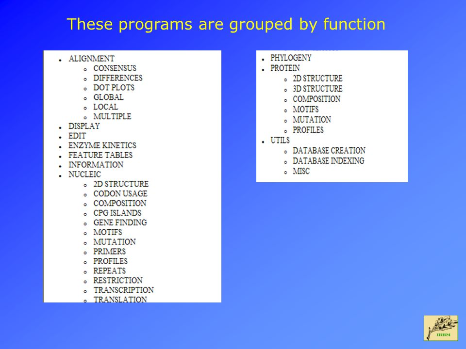 These programs are grouped by function