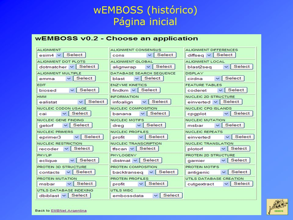 wEMBOSS (histórico) Página inicial