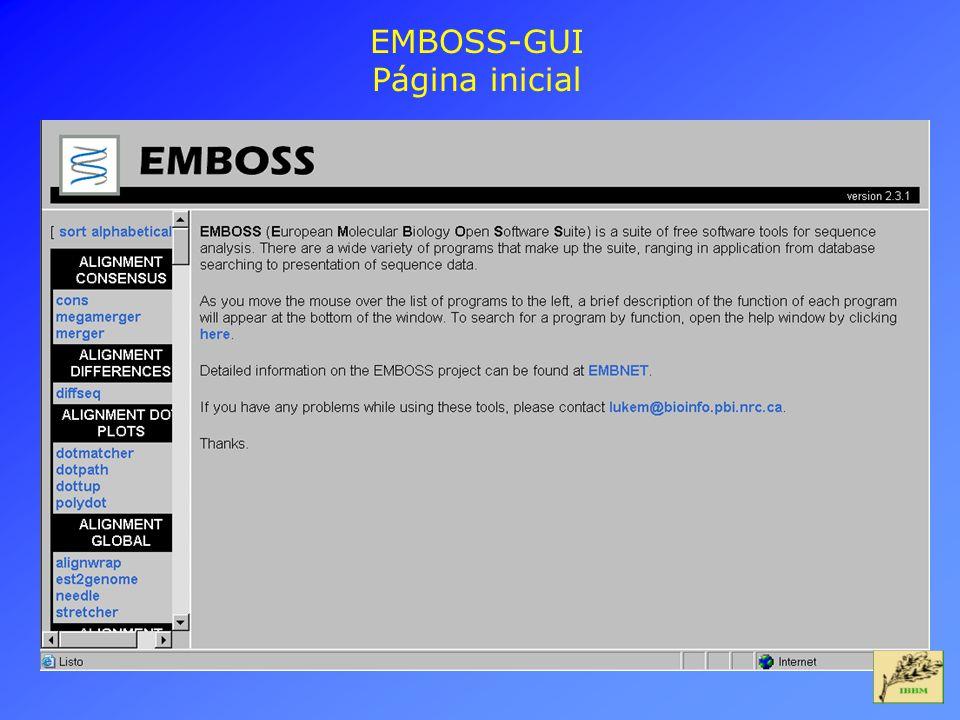 EMBOSS-GUI Página inicial