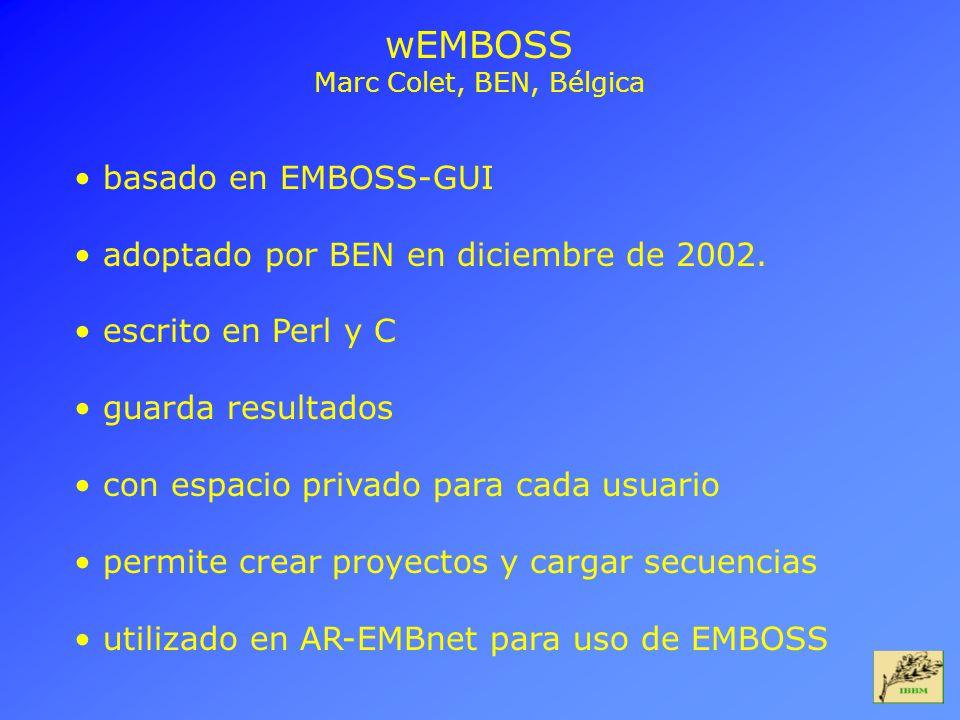 wEMBOSS basado en EMBOSS-GUI adoptado por BEN en diciembre de 2002.