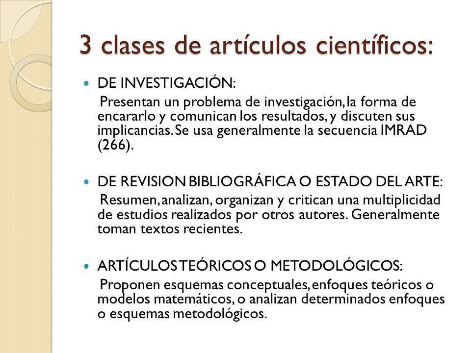 3 clases de artículos científicos: