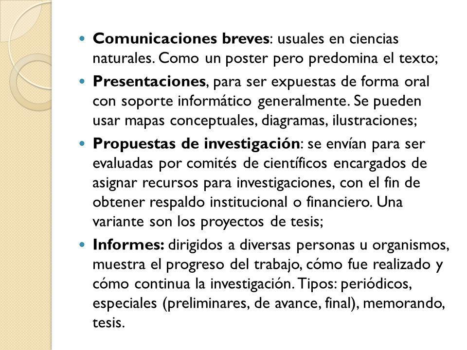 Comunicaciones breves: usuales en ciencias naturales