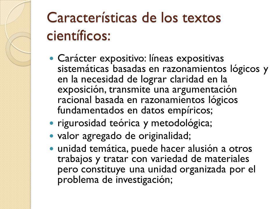 Características de los textos científicos:
