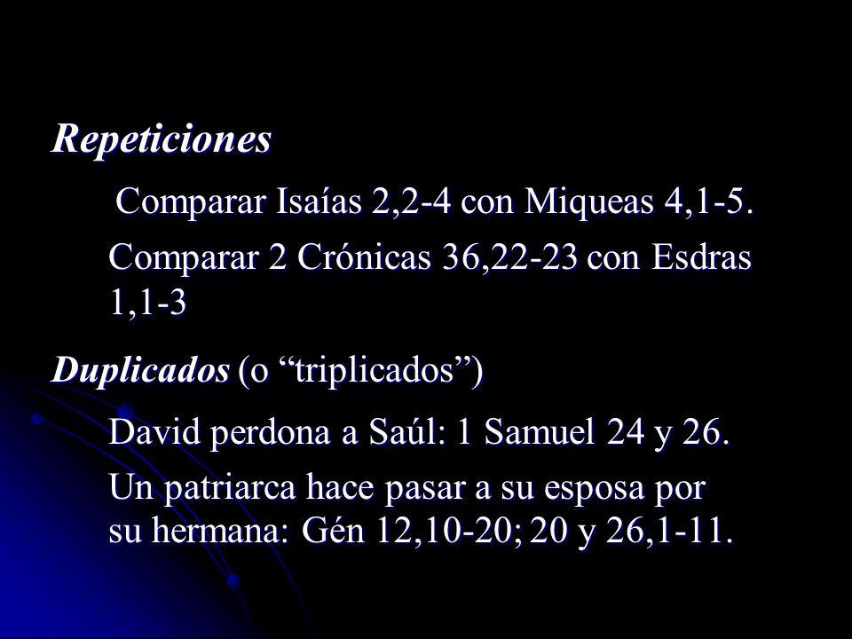 Comparar Isaías 2,2-4 con Miqueas 4,1-5.