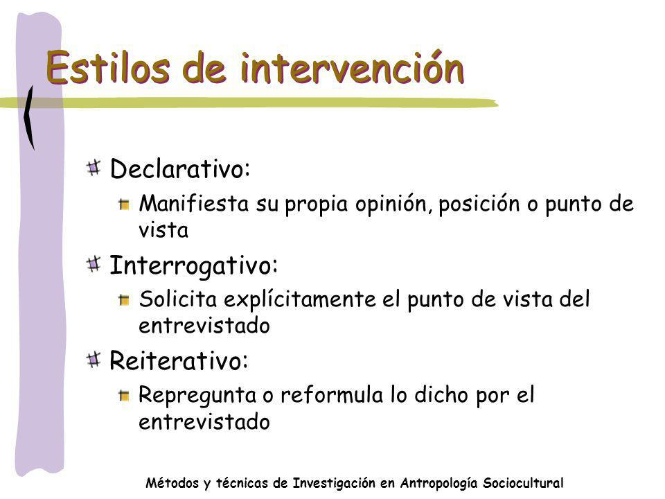 Estilos de intervención