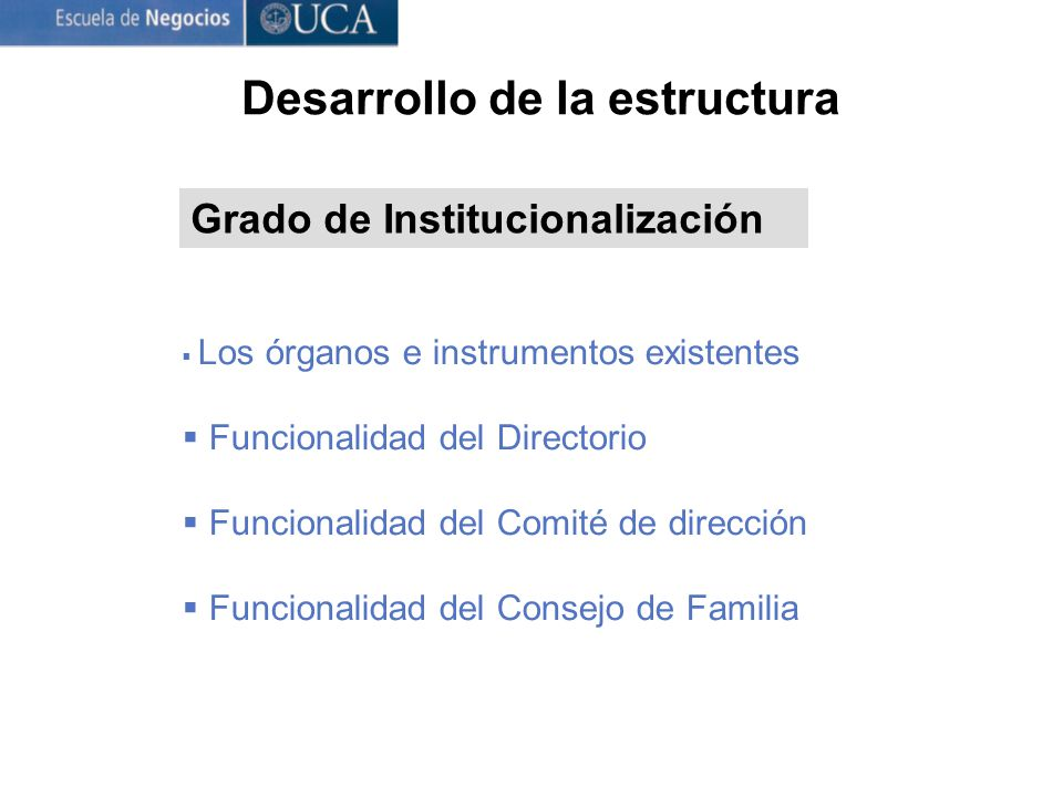 Desarrollo de la estructura