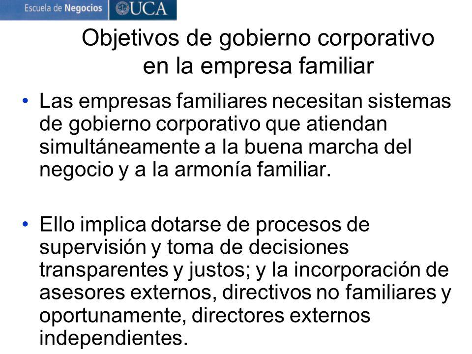 Objetivos de gobierno corporativo en la empresa familiar