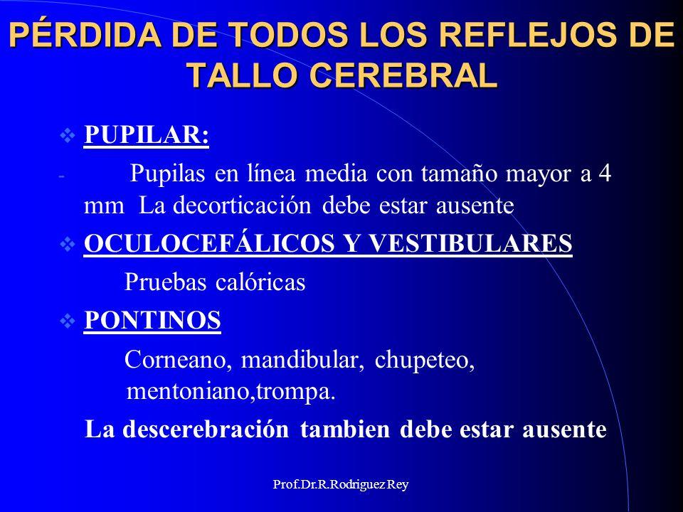 PÉRDIDA DE TODOS LOS REFLEJOS DE TALLO CEREBRAL