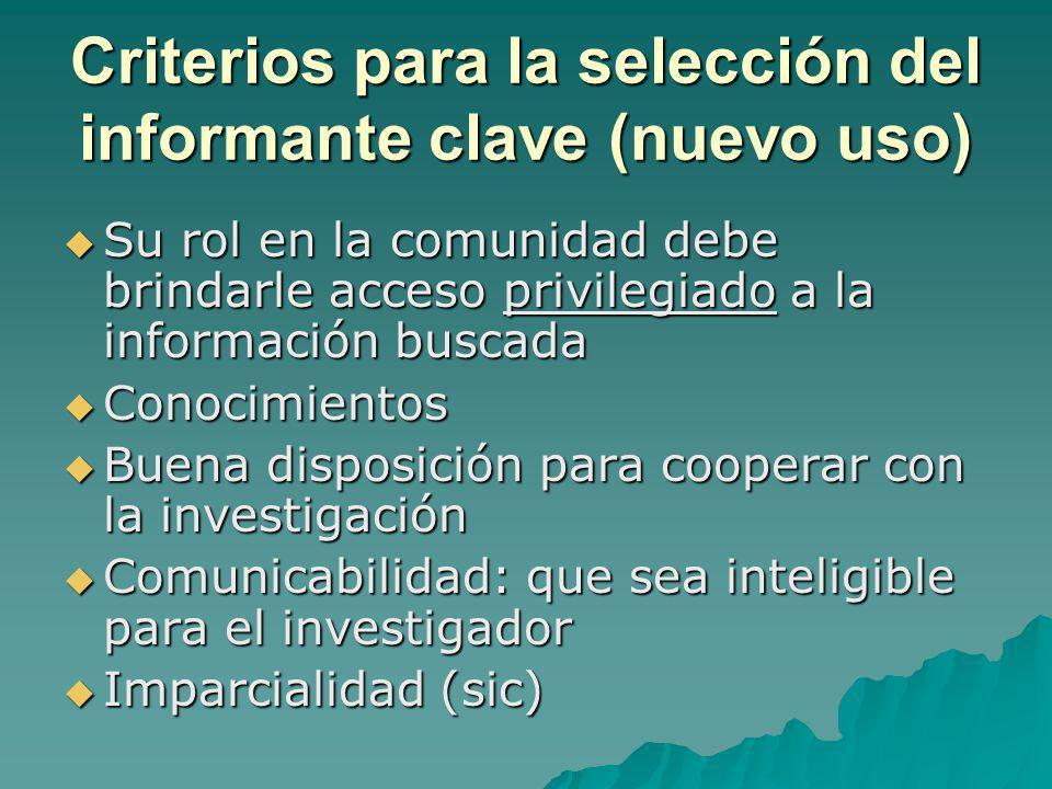Criterios para la selección del informante clave (nuevo uso)
