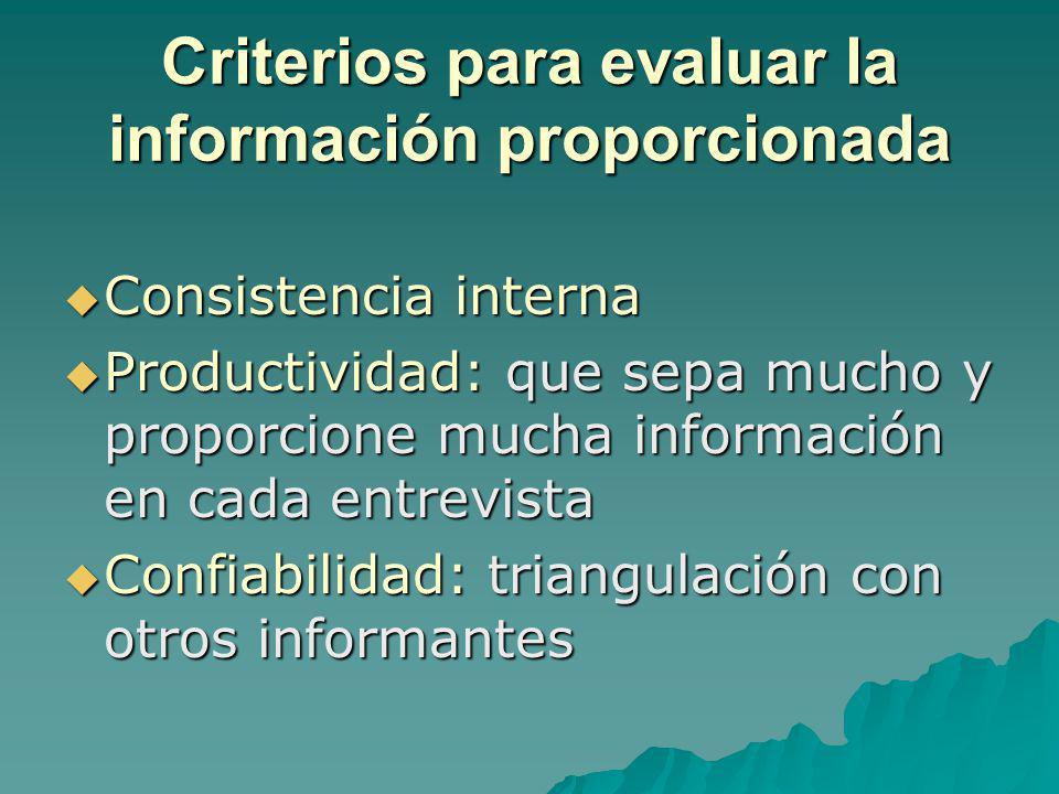 Criterios para evaluar la información proporcionada