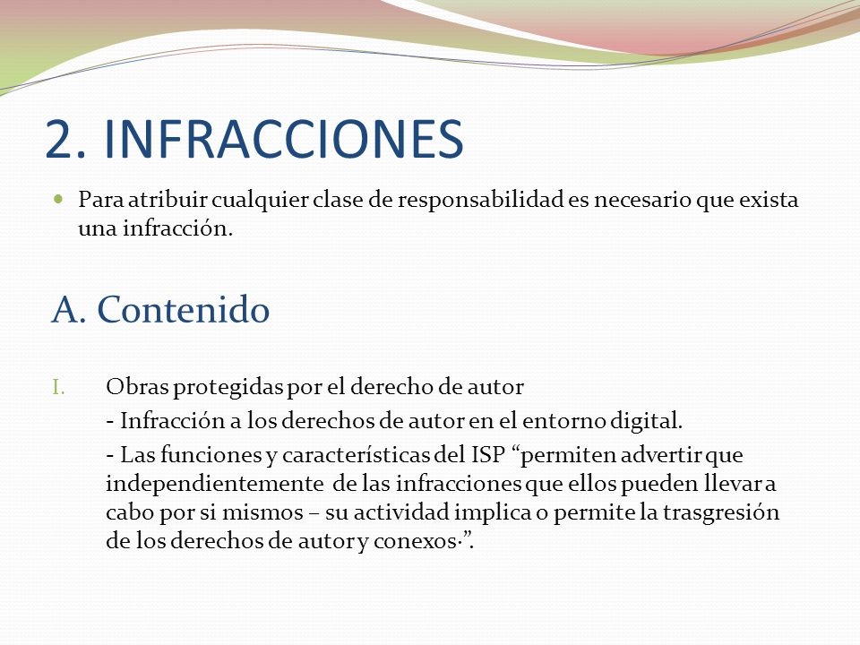2. INFRACCIONES A. Contenido