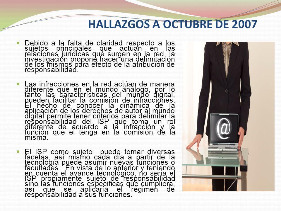 HALLAZGOS A OCTUBRE DE 2007