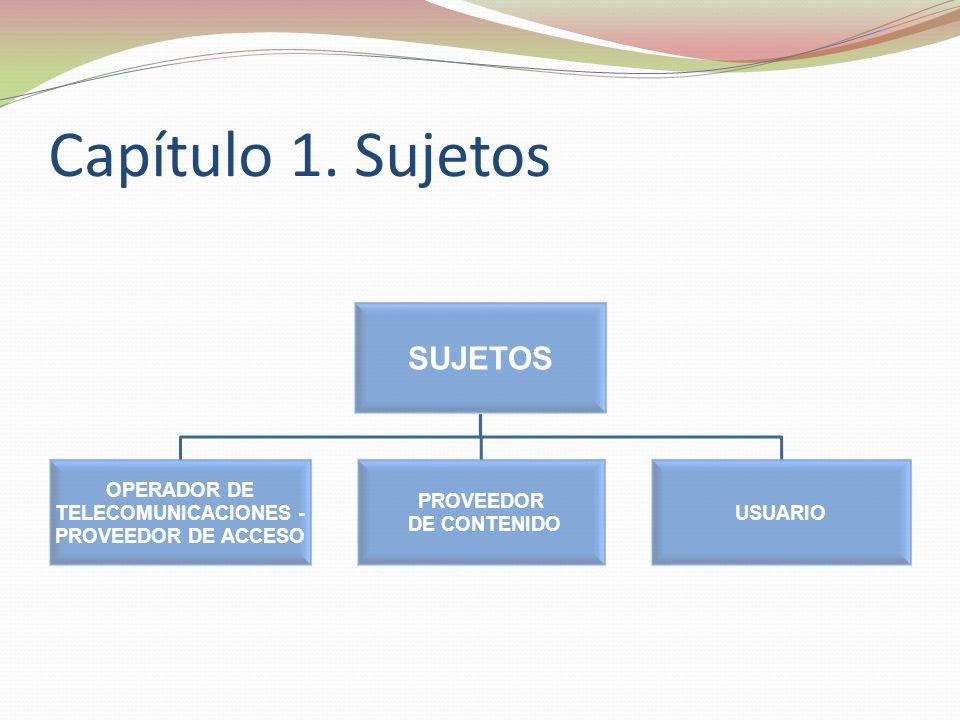 Capítulo 1. Sujetos SUJETOS PROVEEDOR DE ACCESO TELECOMUNICACIONES -