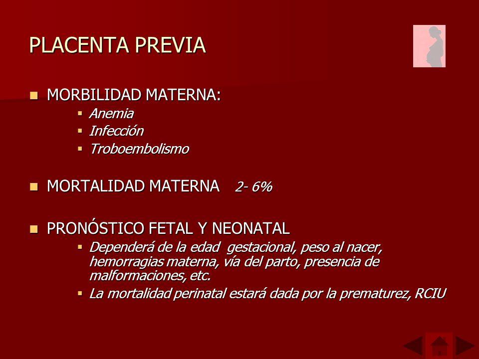 PLACENTA PREVIA MORBILIDAD MATERNA: MORTALIDAD MATERNA 2- 6%