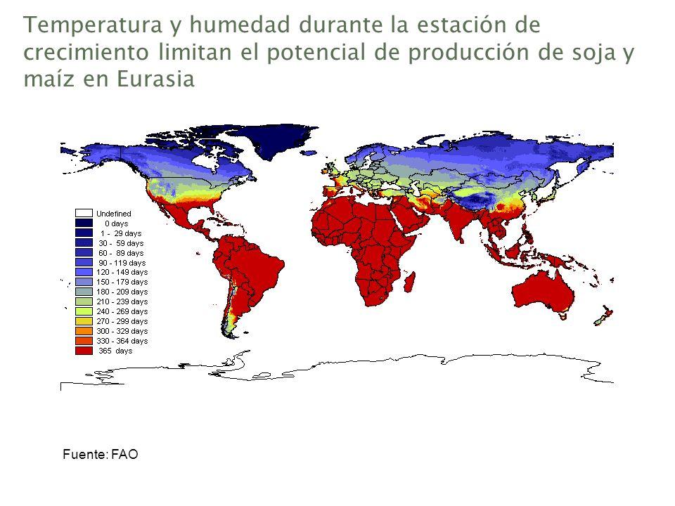 Temperatura y humedad durante la estación de crecimiento limitan el potencial de producción de soja y maíz en Eurasia