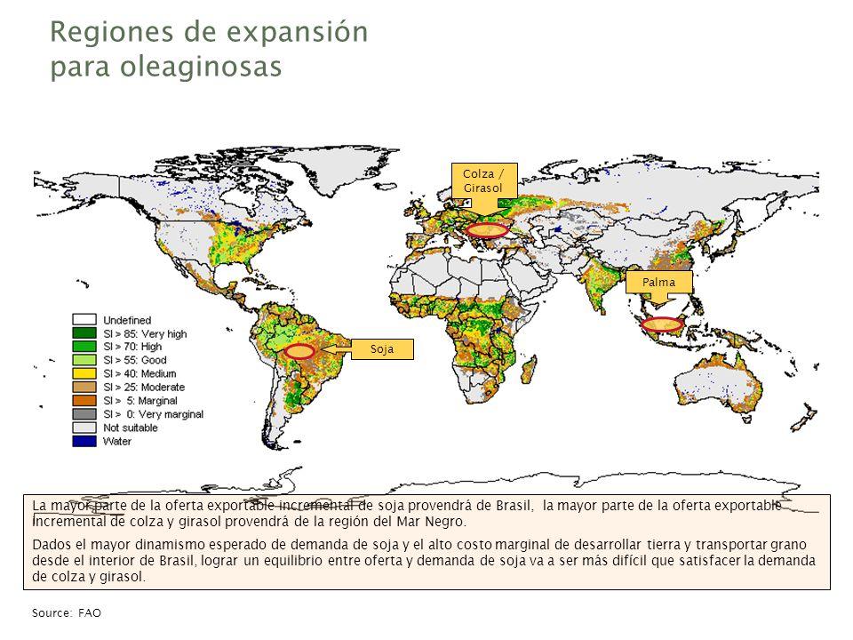 Regiones de expansión para oleaginosas